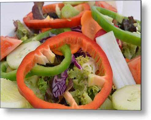Cut Vegetables On A Plate Metal Print featuring the photograph Salad by Michael Reese