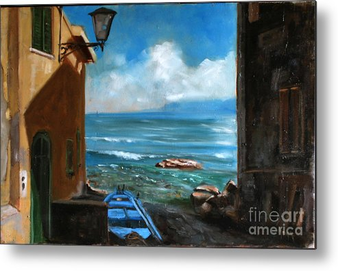 Sea Landscape Metal Print featuring the painting Sealight From Sicily by Antar Ninad