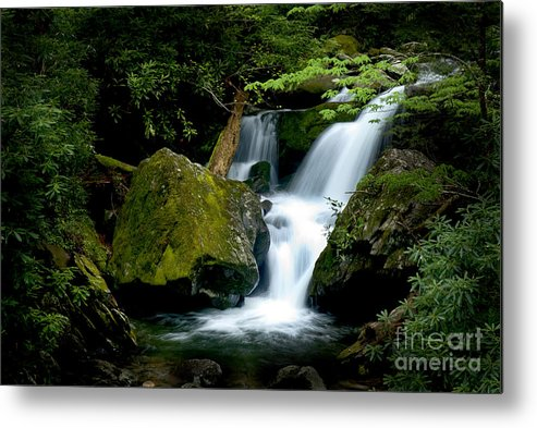Water Metal Print featuring the photograph Smoky Mountain Falls by Paul W Faust - Impressions of Light