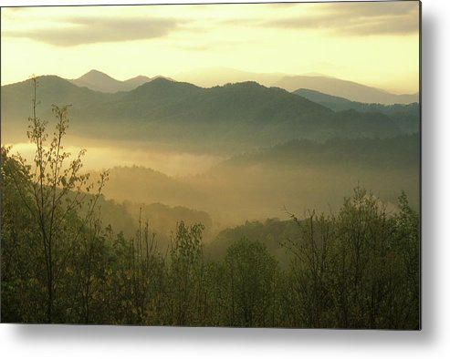 National Park Metal Print featuring the photograph Smoky Mountain Foggy Sunrise by John Burk