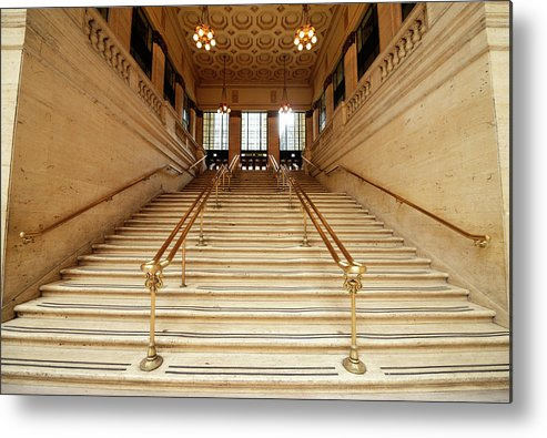 Steps Metal Print featuring the photograph Subway Station Staircase,chicago by Lisa-blue