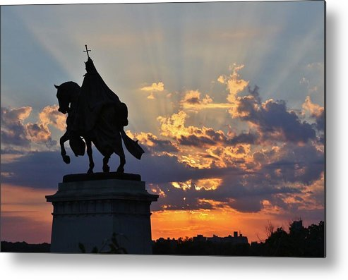 Saint Louis Metal Print featuring the photograph Sunrise With Saint Louis The 9th by Christopher Miles Carter