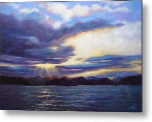 Sunset Metal Print featuring the painting Sunset In Norway by Janet King