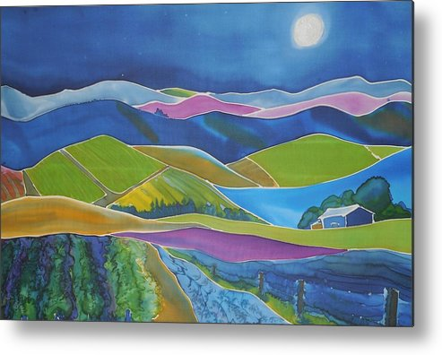 Landscape Metal Print featuring the painting Supermoon by Jill Targer