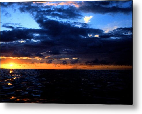 Sunset Guadeloupe Caribbean Metal Print featuring the painting Sweet Mystery... Last Glimmering Off Guadeloupe by David M Davis