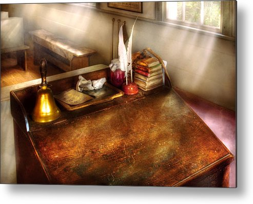 Savad Metal Print featuring the photograph Teacher - The School Room by Mike Savad