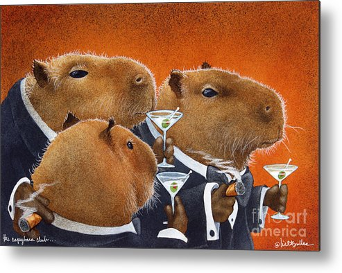 Will Bullas Metal Print featuring the painting The Capybara Club... by Will Bullas