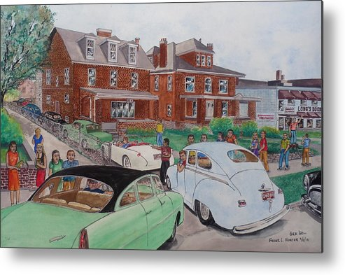 Phi Sigma Kappa Pi Deuteron Chapter Pledges Moving Cars 43 E. 15th Hudson Plymouth Corvette Thunderbird Longs Book Store The Pantry Pearl Alley Johnny Meiders Ice Cream Buick Fraternity House Students Traffic Hazzard Ohio State University Fraternity Metal Print featuring the painting The Car Movers Of Phi Sigma Kappa Osu 43 E. 15th Ave by Frank Hunter