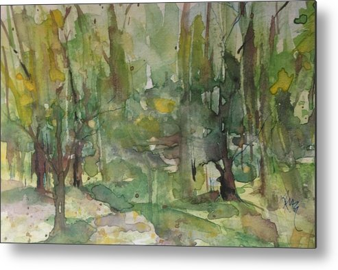 Landscape Metal Print featuring the painting The Forest by Robin Miller-Bookhout