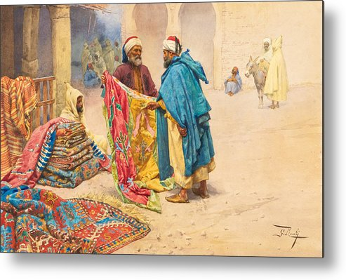 Giulio Rosati Metal Print featuring the painting The Rug Merchant by Giulio Rosati