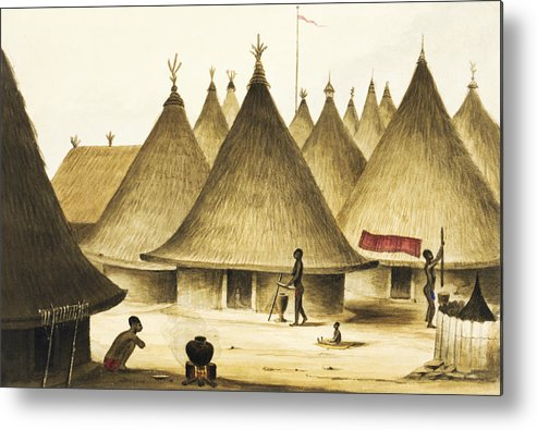 Native Metal Print featuring the painting Traditional Native Village Circa 1840 by Aged Pixel