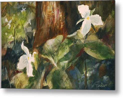 Flowers Metal Print featuring the painting Trillium Woods 3 by Duane Barnhart