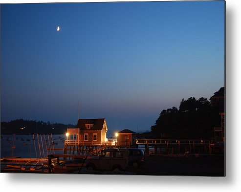 North Haven Casino Metal Print featuring the photograph Twilight And Moon Rise Over The North Haven Casino. Celebrating 100 Years In 2012 The North Haven Casino Is One Of Maine's First Sailing Yacht Clubs. by Downeast Yacht Shots- Ted Fisher Photography