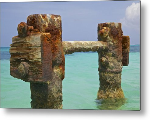Aruba Metal Print featuring the painting Twin Rusted Dock Piers Of The Caribbean by David Letts