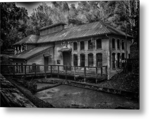 Black And White Metal Print featuring the pyrography Water Treatment Plant by Greg Bierer