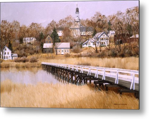 Village Metal Print featuring the painting Wellfleet Golden Morn by Karol Wyckoff