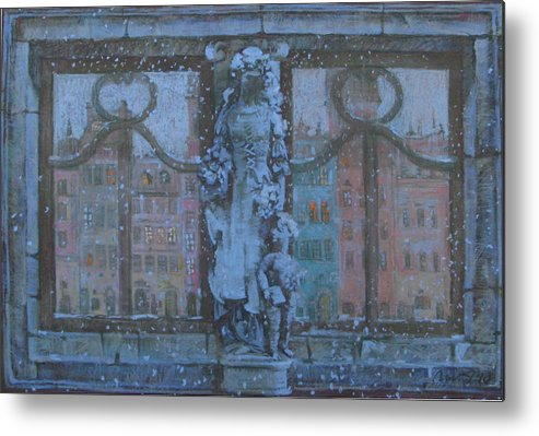 Metal Print featuring the pastel Winter In Warsaw by Anna Lapygina