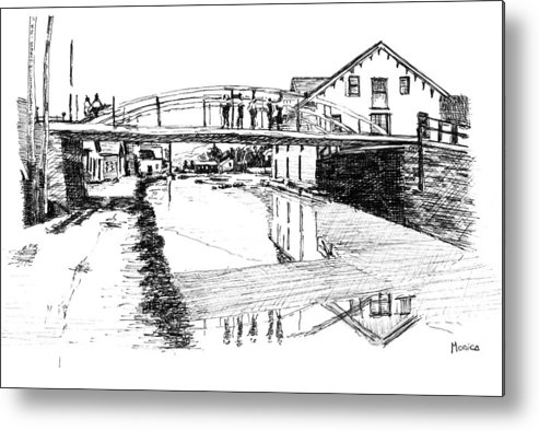 River Metal Print featuring the drawing Canal Ellenville by Monica Cohen