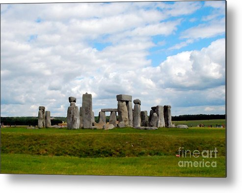 Landscape Metal Print featuring the digital art Stonehenge by Pravine Chester