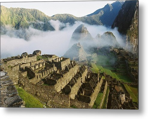 Machu Picchu Metal Print featuring the photograph Machu Picchu In The Fog by Nimmi Solomon