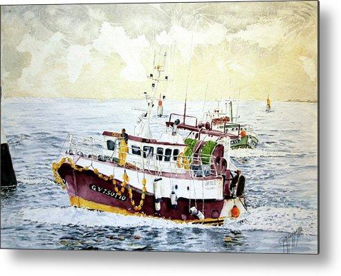 Sea Scape Metal Print featuring the painting 5 Di Pomeriggio A Guilvinec by Giovanni Marco Sassu
