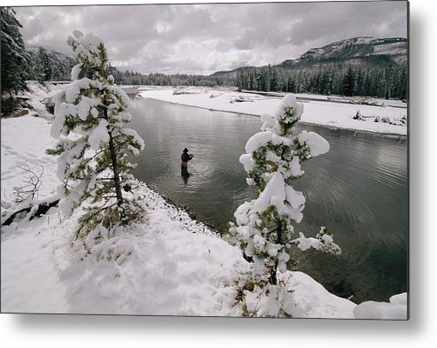 Color Image Metal Print featuring the photograph A Fisherman Tries His Luck by Annie Griffiths