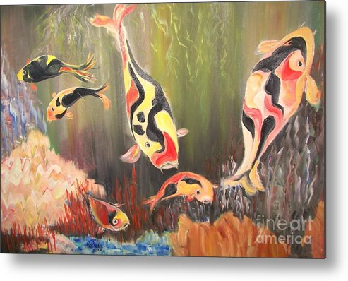Fish Metal Print featuring the painting A School Of Koi by Rachel Carmichael