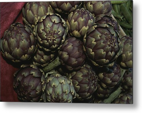 Europe Metal Print featuring the photograph Artichokes At A Market In Provence by Nicole Duplaix