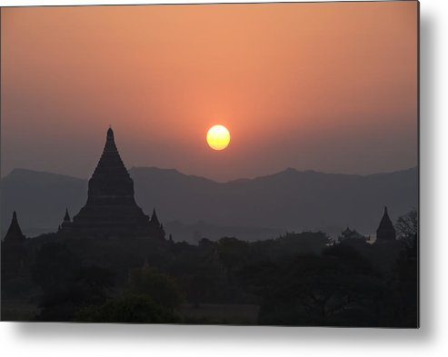 Ancient Metal Print featuring the photograph Bagan Temples At Sunset II by Gloria & Richard Maschmeyer