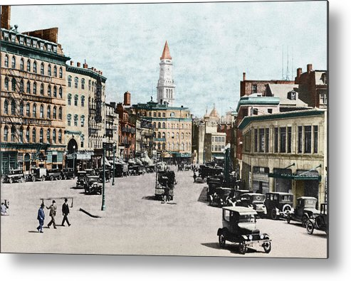 1919 Metal Print featuring the photograph Boston: Bowdoin Square by Granger
