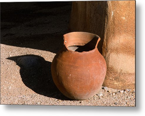Mexican Pottery Metal Print featuring the photograph Clay Pot And Shadow by Sandra Bronstein