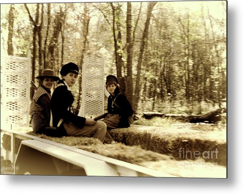 Kid; Kids; Hayride; Hay; Sepia; Confederate; Soldiers; Soldier; Acting; Old Time; Old Photograph; Vintage; Independence Metal Print featuring the photograph Confederate Kids by Diego Re