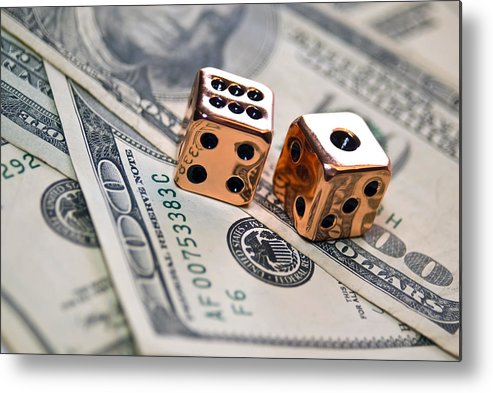 100 Metal Print featuring the photograph Copper Dice And Money by Susan Leggett
