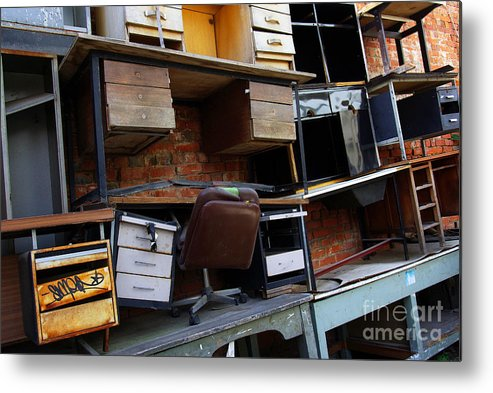 Abandoned Metal Print featuring the photograph Desk Scrap by Carlos Caetano