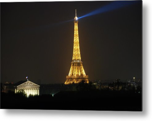 Eiffel Tower Metal Print featuring the photograph Eiffel Tower At Night by Jennifer Ancker