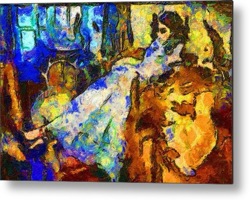 Impressionist Fashion Painting Metal Print featuring the painting Fashion 129 by Jacques Silberstein