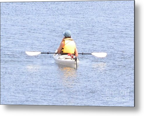 Kayak Metal Print featuring the photograph Kayaker Resting On The Water by Artie Wallace