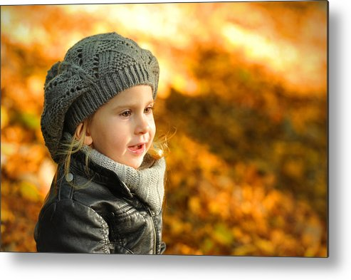 Adorable Metal Print featuring the photograph Little Girl In Autumn Leaves Scenery At Sunset by Waldek Dabrowski