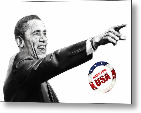Barack Obama Water Watercolor Color Painting Texture President Usa Us 44 44th Metal Print featuring the digital art Made For Usa by Steve K