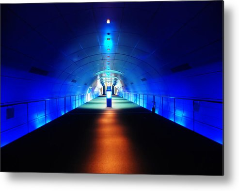 Abstract Metal Print featuring the photograph Modern Blue Tunnel by Prayut Chaisook