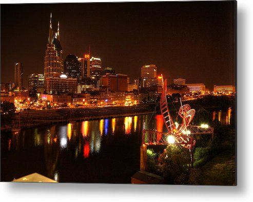 Nashville Metal Print featuring the photograph Nashville Lights by Robert Sands