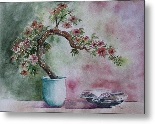 Peaceful Still Life Metal Print featuring the painting Peace Of Mind by Patsy Sharpe