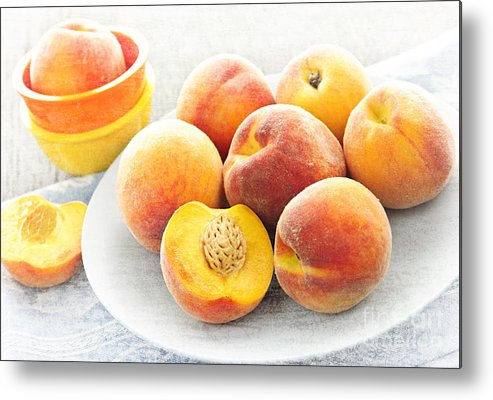 Peaches Metal Print featuring the photograph Peaches On Plate by Elena Elisseeva