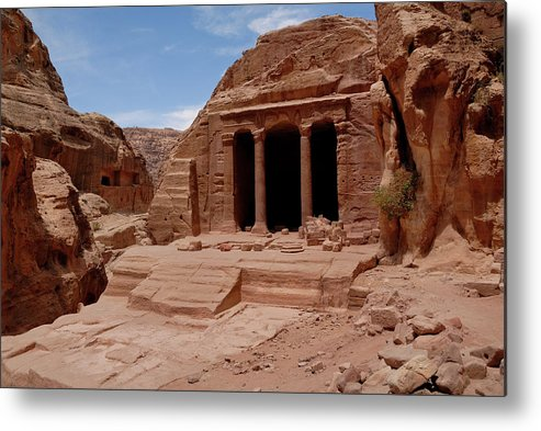 Horizontal Metal Print featuring the photograph Petra's Garden Temple by Dan Wiklund