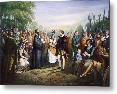 1614 Metal Print featuring the photograph Pocahontas & John Rolfe by Granger