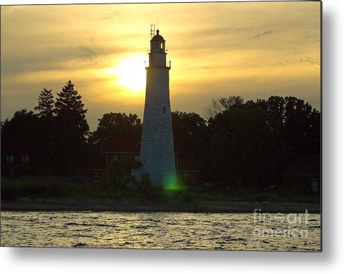 Lighthouse Metal Print featuring the photograph Sunset At The Ft. Gratiot Lighthouse by Ginger Harris