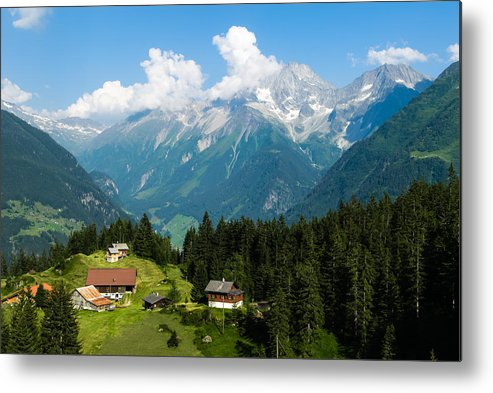 Horizontal Metal Print featuring the photograph Swiss Alps by Thomas Lottermoser