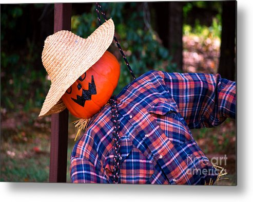 Pumpkin Metal Print featuring the photograph Tied Up In Chains by Monica Poole