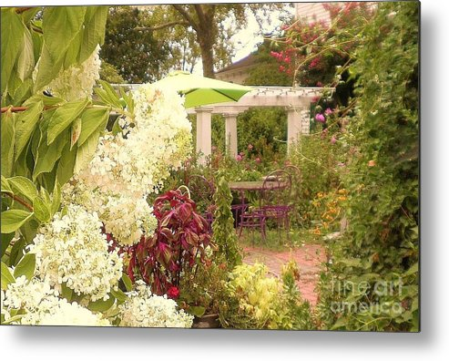 Landscape Garden Art Metal Print featuring the photograph Time 2 Relax by Diana Chason