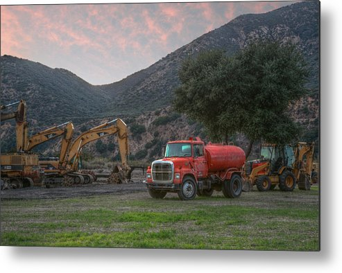 Truck Metal Print featuring the photograph Truck And Tractors In Hdr by Leroy Meyer